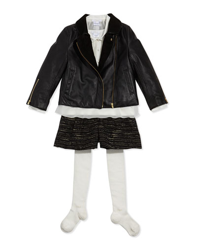 Chloe Chiffon Crepe Blouse With Tee, Leather Jacket, Tweed Pleated Shorts & Ribbed Logo Tights