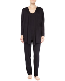 Hanro Open-Front Jacket, Chelsea Dolman-Sleeve Sleep Shirt & Fold-Over Yoga Pants, Black