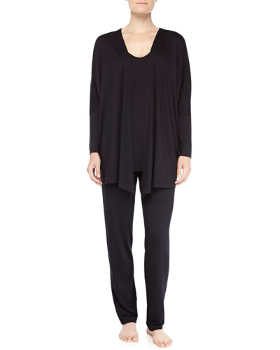 Hanro Open-Front Jacket, Chelsea Dolman-Sleeve Sleep Shirt & Fold-Over Yoga Pants, Black