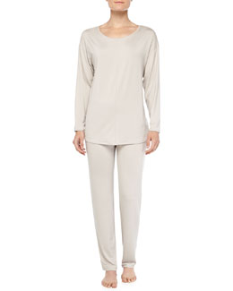 Hanro Chelsea Long-Sleeve Sleep Shirt & Fold-Over Yoga Pants, Smoke