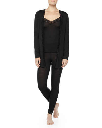 Hanro Downtown Lace-Trimmed Silk-Blend Camisole, Leggings & Cardigan