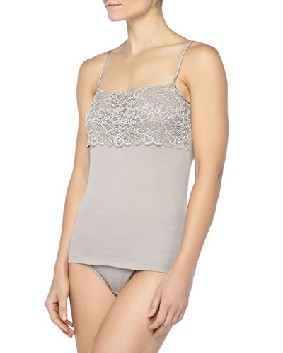Hanro Luxury Moments Wide-Lace Camisole & Moments Lace-Trimmed High-Cut Briefs, Ash