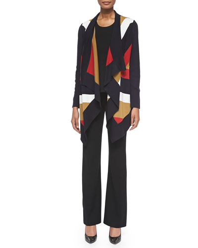 Ophelia Striped Grid-Stitch Cardigan, Cathy Scoop-Neck Tank & Casey Boot-Cut Pants, Petite