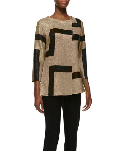 3/4-Sleeve Abstract Modern Jacket & Sweet Thing Tank, Black, Women