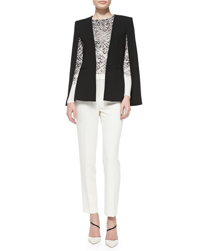 BCBGMAXAZRIA Upas Suiting Cape, Agda Long-Sleeve Printed Top & Derrick Straight-Leg Dress Pants