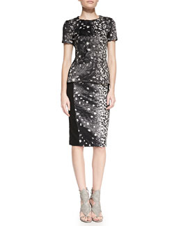 BCBGMAXAZRIA Tulum Short-Sleeve Printed Top & Ines Printed/Solid Pencil Skirt