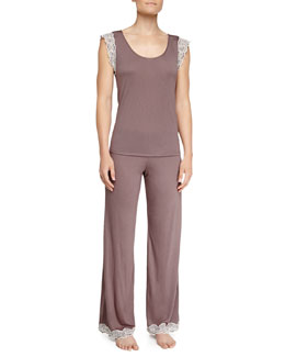 Eberjey Lady Godiva Jersey Lace Lounge Tee & Pants, Purple