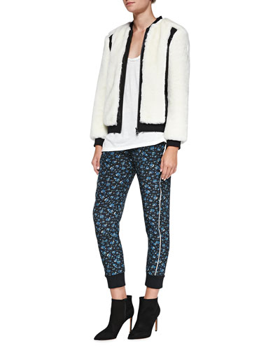 Pam & Gela Leather-Trim Faux-Fur Jacket, Scoop-Neck Slub Tee & Printed Cropped Pull-On Pants
