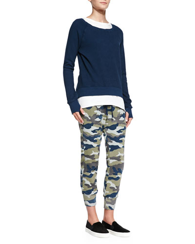 Pam & Gela Twist-Neck High-Low Sweatshirt, Frankie Twisted-Seam Muscle Tank & Sam Drop-Front Camo-Print Pants
