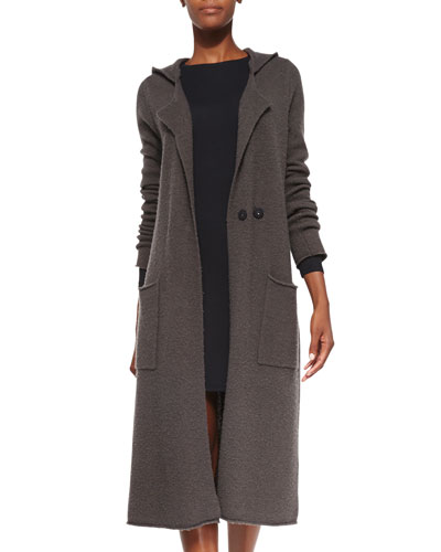 ATM Double-Breasted Hooded Felt Coat & Formfitting Long-Sleeve Knit Dress