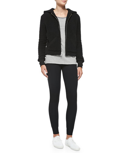 ATM Hooded Fleece Jacket, Long-Sleeve Striped Cotton Tee & Full-Length Double-Layer Yoga Tights