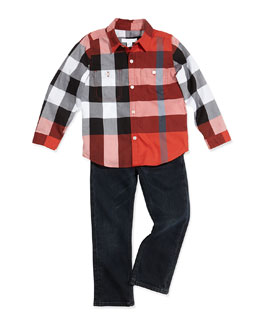 Burberry Check Sport Shirt & Boys' Straight-Leg Denim Trousers