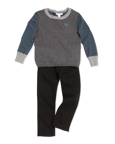 Burberry Colorblock Cashmere Sweater & Skinny Five-Pocket Jeans