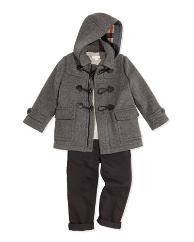 Burberry Boys' Wool Hooded Coat, Knit Elbow-Patch Sweater & Linen-Cotton Pants