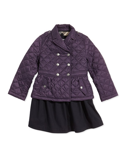 Burberry Girls' Quilted Double-Breasted Coat & Sleeveless Trench Dress