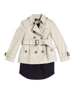 Burberry Cotton Trench Coat & Gabardine Sleeveless Dress