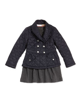 Burberry Girls' Quilted Double-Breasted Coat & Long-Sleeve Knit Dress