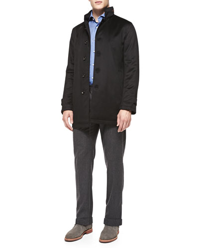 Solferino Cashmere Coat, Solid Woven Shirt & 5-Pocket Flannel Trousers