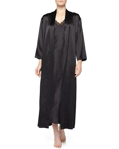 Neiman Marcus Long Robe & Lace-Trim Satin Gown