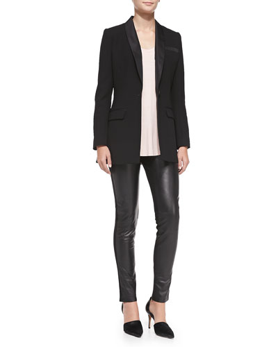 Three Dots Tuxedo Blazer/Soft Slouch Tank & Leather & Ponte Leggings