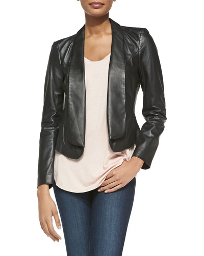 Neiman Marcus Fold-Front Leather Jacket & Soft Slouch Tank