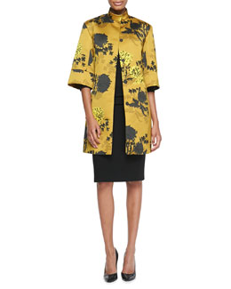 Etro Floral Duchess Satin Coat & Ruched-Waist Elbow-Sleeve Dress