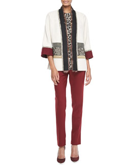 Etro Mixed Media Coat with Fur Trim, Leopard-Print Elbow-Sleeve Top & Classic Ankle Pants