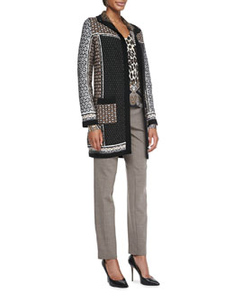 Etro Textured Mixed-Media Coat, Leopard and Paisley Silk Top & Tapered Serge Ankle Pants
