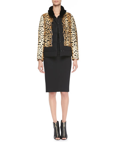 Etro Reversible Animal-Print Fur Jacket & 3/4-Sleeve Fitted Ruched-Waist Dress