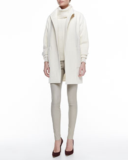 Alice + Olivia Tiff Drop-Shoulder Felt Coat, Atson Rib-Trim Knit Turtleneck & Front-Zip Leather Leggings
