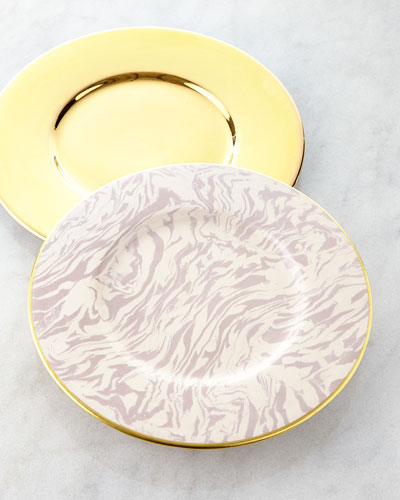 AERIN Gold & Marble Clay Charger Plates