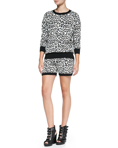 10 Crosby Derek Lam Leopard-Print Jacquard Sweatshirt & Track Shorts