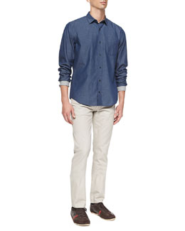 Vince Denim Button-Down Shirt & Slim Straight Five-Pocket Jeans