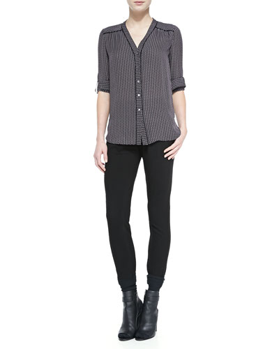 Vince Piped-Trim Printed Silk Blouse & Leather-Trim Relaxed Trousers