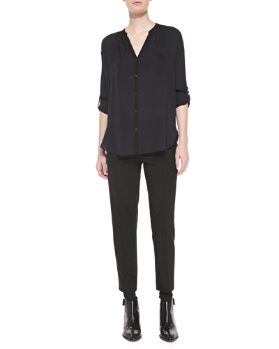 Vince Contrast-Trim Silk Blouse & Pintuck Leather-Tab Pants