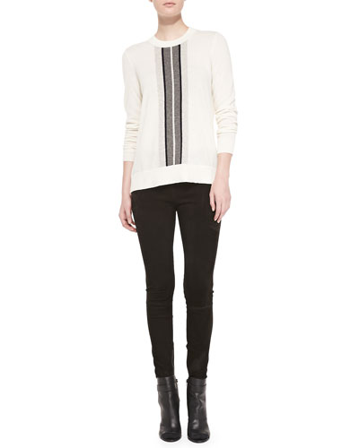 Vince Cashmere Regimental-Stripe Sweater & Suede Mid-Rise Leggings