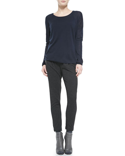 Vince Crewneck Long-Sleeve Sweater & Lambskin-Trim Relax Trousers