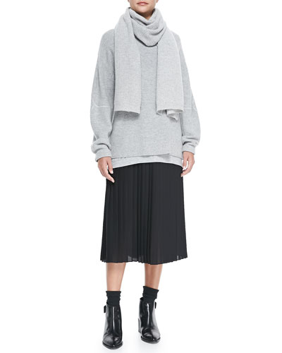 Vince Honeycomb-Pattern Knit Sweatshirt, Chiffon-Trim Slub Tee, Thermal Waffle-Pattern Scarf & Mid-Calf Pleated Chiffon Skirt
