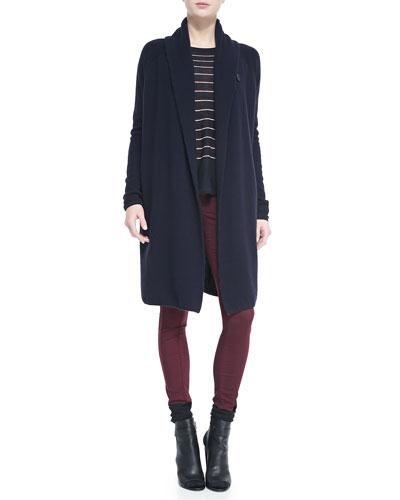Vince Knit Car Coat Sweater, Knit Stripe Crewneck Sweater & Zip-Pocket Skinny Jeans
