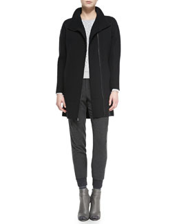 Vince Scuba Wool Sweater Coat, Lace-Overlay Knit-Trim Top & Ribbed-Cuff Tapered Trousers
