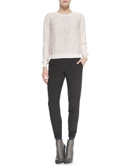 Vince Silk Lace-Overlay Crewneck Top & Ribbed-Cuff Tapered Trousers