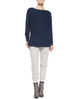 Vince Cashmere Ladder-Stitch Sweater & Rib-Cuff Felt Trousers