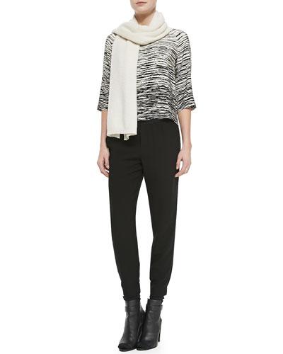 Vince Knit Thermal Scarf, Printed Silk Half-Raglan Sleeves & Jersey Harem Pants