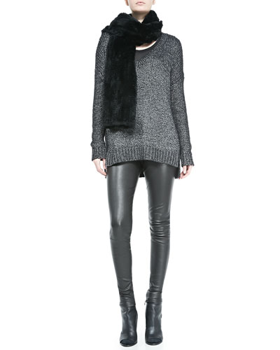 Vince Rabbit Fur Scarf, Metallic V-Neck Knit Sweater & Smooth Leather Leggings