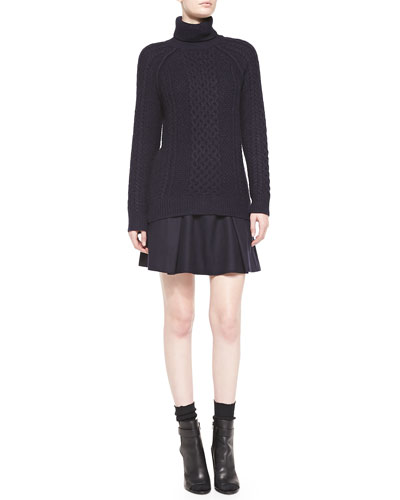 Vince Cable Knit Turtleneck Sweater & Pleated Flared Wool Skirt
