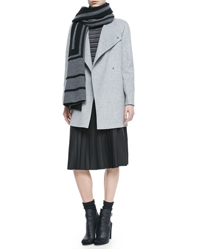 Vince Cashmere Jacquard Scarf, Sweater-Back Drape-Neck Coat, Striped Crewneck Sweater & Leather Pleated Skirt