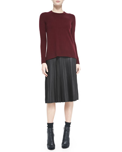 Vince Cashmere Overlay-Crewneck Sweater & Leather Pleated Skirt