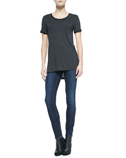 Vince Mixed-Media Short-Sleeve Tee & Dylan Skinny-Leg Jeans