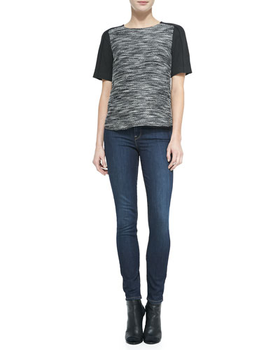 Textured Short-Sleeve Top & Dylan Skinny Jeans