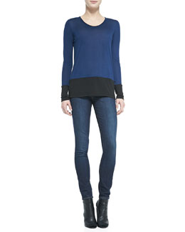 Vince Colorblock Long-Sleeve Tee & Dylan Skinny Jeans
